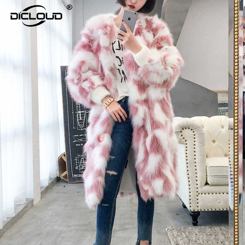 1fe5ab410 Hot 2018 Winter White Pink Faux Fur Coats Women Fluffy Extra Long Fake Fox Fur  Jacket