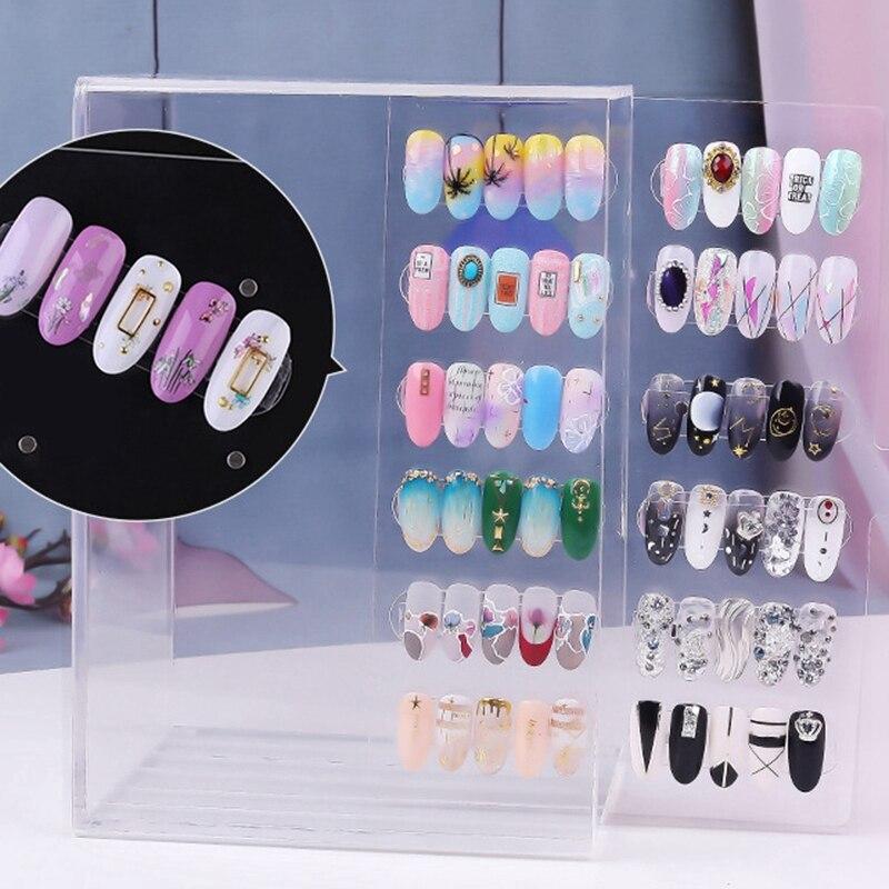 5 Layer 60 Grid Magnetic Adsorption Detachable Hanger Acrylic Transparent Nail Polish Cosmetic Varnish Display Stand Bracket M