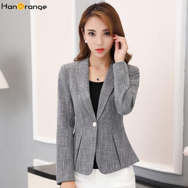 b8b6a8c7c37 HanOrange Single Button Pocket Spring Autumn Fashion Lady Slim Gray Women  Office Lady Blazer Jacket Plus Size 4XL 3XL