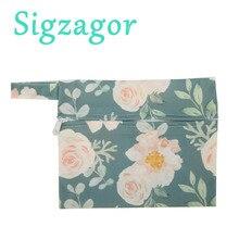 [Sigzagor] 1 маленькая мокрая сумка многоразовая для Mama Ткань гигиеническая менструальная подкладка тампон нагрудник на молнии