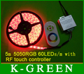 5mX high quality RGB led strip waterproof IP65 5050SMD 300 LEDs/Roll + RF RGB LED touch controller free shipping