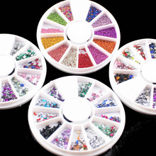 LOLEDE kawaii 12 Colors 2mm Acrylic Nail Art Rhinestones Decoration For UV Gel Phone