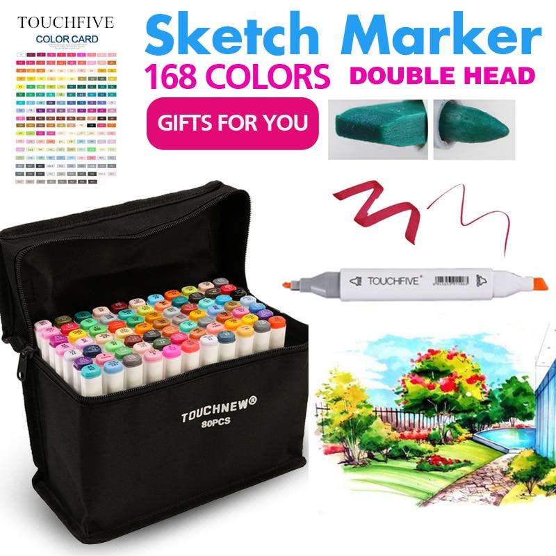 Touchfive Painting Art Marker Pen Alcohol Paint Marker Pen Cartoon Sketch Double Headed Art  Markers Set Designers