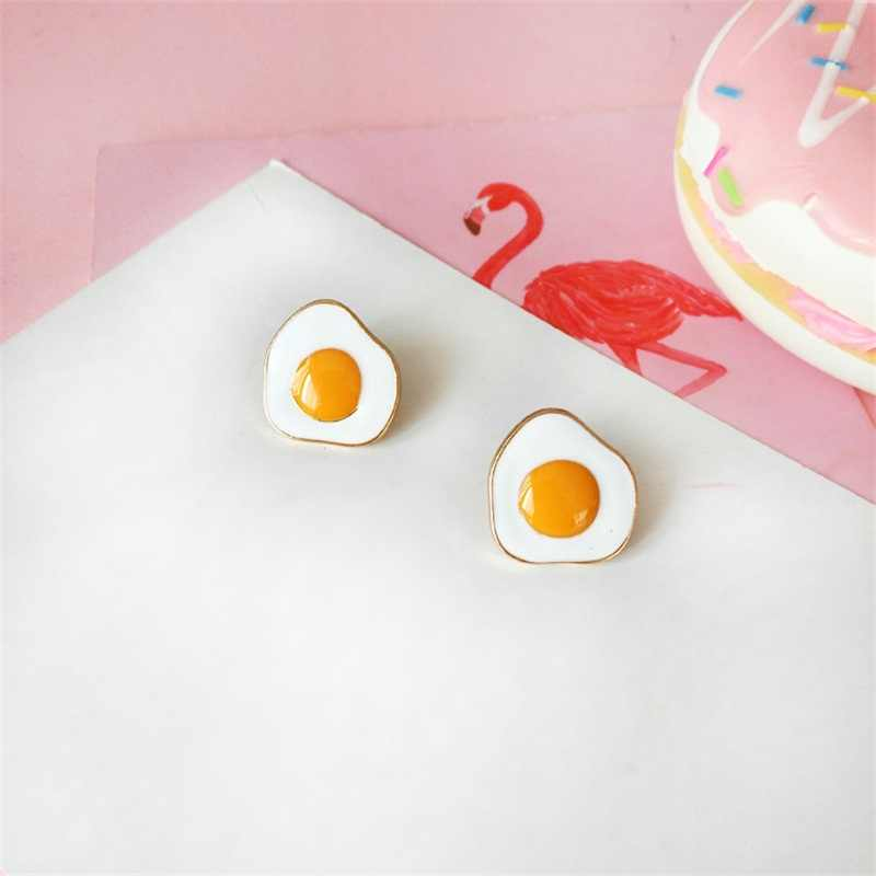 2019 Creative Fun Egg Yolk Yellow Earrings Japan and South Korea Cute Fun Character Fashion Earrings Girls Students Jewelry Gift