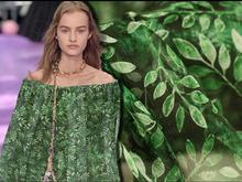 Fashion Green leaves light silk pearl fabric, plant flowers dresses bubble yarn print satin floral Process tweed fabrics C573