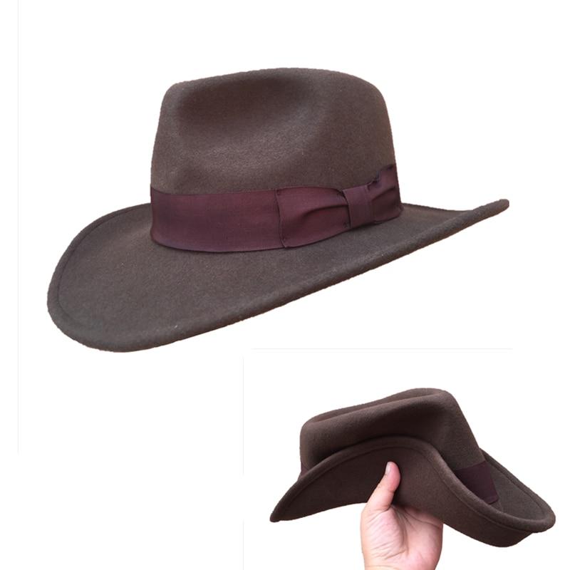 Feutre de laine Brun Fourrure Crushable Cowboy Fedora Chapeaux Indiana Jones Outback Chapeau