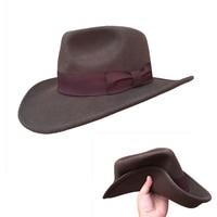 Wool Felt Brown Fur Crushable Cowboy Fedora Hats Indiana Jones Outback Hat