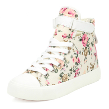 Spring/Autumn Women Shoes Flats Canvas Print Flower High-top Shoes Woman Sneakers Women Lace-Up Espadrilles Luxury Brand Shoes moxxy leopard shoes woman print flats casual shoes woman lace up golden canvas shoes autumn trainers high top sneakers women