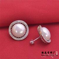 5pcs/lot LSE808 women pearl silver stud earring zircon stone jewelry,