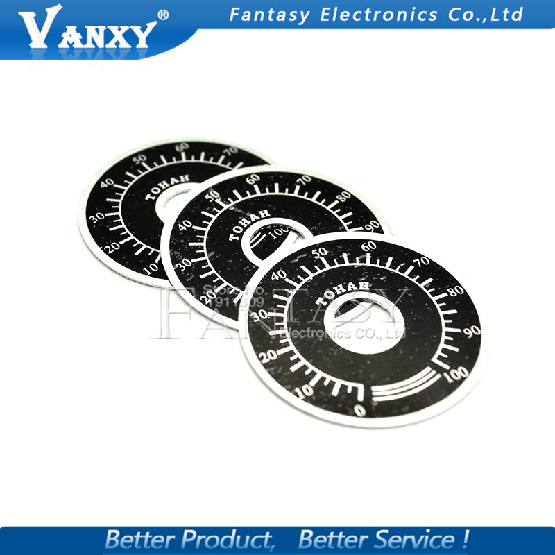 5pcs 0-100 WTH118 Potentiometer Knob Scale Digital Scale Can Be Equipped With WX112 TOPVR