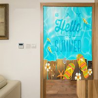 New 3D Door Curtains Panel Cool Summer Slippers Pattern Polyester Kitchen Curtains Bedroom Curtains for Living Room Home Textile