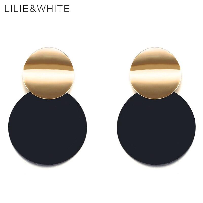 Lilie и белый 2018 два гладкая кривая витой диск Висячие серьги золото Цвет и черное покрытие металла Серьги для Для женщин ювелирные изделия HC