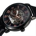 Top FORSINING 3D Logo Design Hollow Engraving Black Case Leather Rome Skeleton Mechanical Watches Men Luxury Brand Heren Horloge