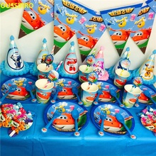 OUSSIRRO Children Birthday party Cartoon Theme Super Wings Decorate Dishes And Cup and Flag Paper Party Tools Set