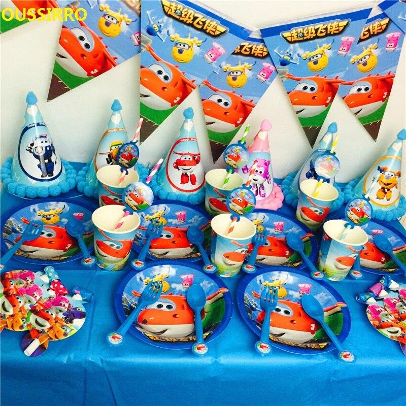OUSSIRRO Enfants fête D'anniversaire de Bande Dessinée Thème Super Ailes Décorer Plats Et Tasse et Drapeau de Fête En Papier Outils Ensemble
