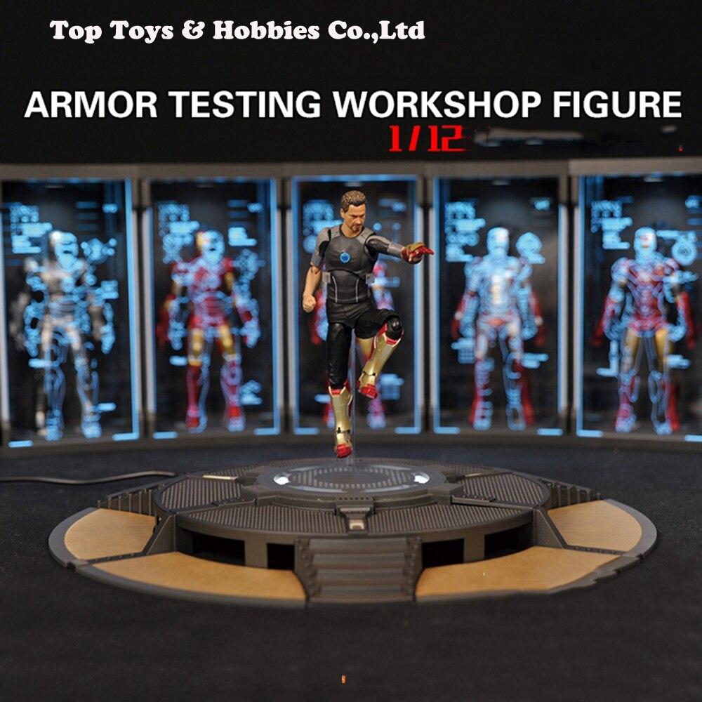 Figurine d'action scène accessoires 1/12 Iron Man Tony Stark 1/12 échelle Comicave SHF rond texte travail Stand 6 pouces