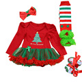 4PCs per Set Baby Girl My First Christmas Outfit Tutu Dress Infant 1st Christmas Party Outfit Leg Warmers Shoes Headband