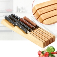 Wood Drawer Knife Holder with 7 Knife Grooves For Kitchen Knife Rack Storage Box