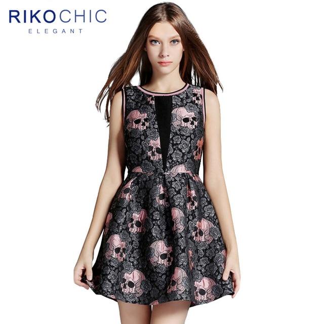 CLEARANCE Luxury Design Autumn Cute Lolita Gothic Dress Rose Skull Jacquard  Women Mini Black Skater Dress Party Female vestidos 327aa39bbd5f