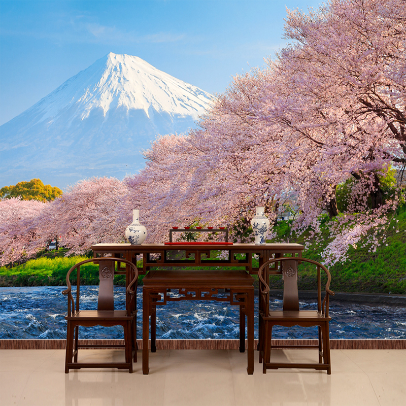 Custom Wall Mural Beautiful Cherry Fuji Mountain Wall Painting Bedroom Living Room Photography Background Photo Wallpaper 3D