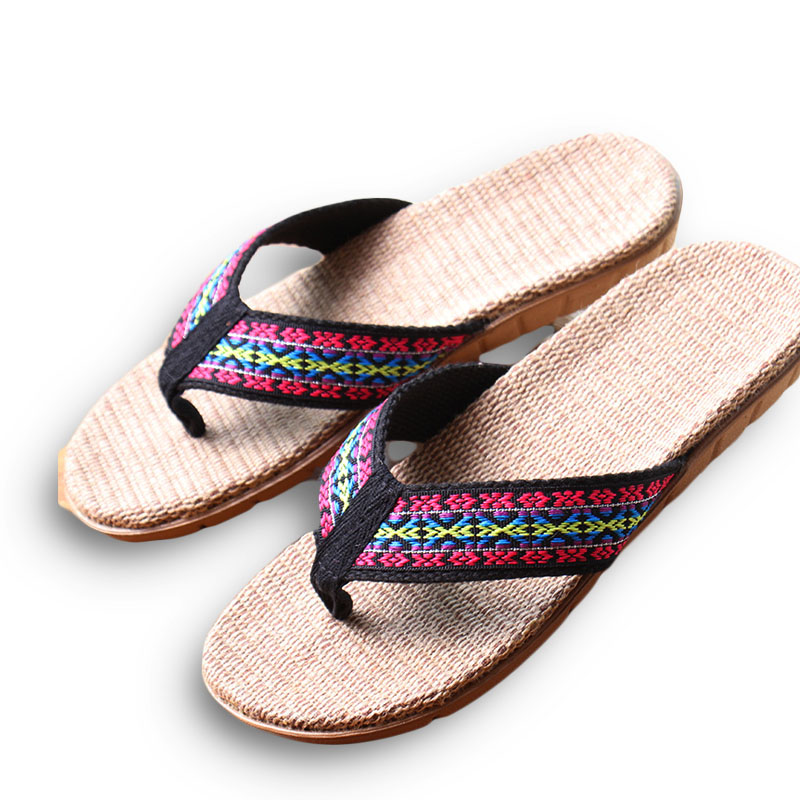 New Summer Linen Women Slippers Ethnic Lattice Fabric Eva Flat Non-Slip Flax Flip Flop Home Slides Lady Sandals Straw Beach shoe coolsa women s summer striped linen slippers breathable indoor non slip flax slippers women s slippers beach flip flops slides