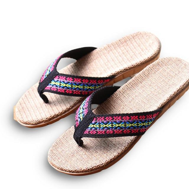 83dad82839434 New Summer Linen Women Slippers Ethnic Lattice Fabric Eva Flat Non-Slip  Flax Flip Flop Home Slides Lady Sandals Straw Beach shoe