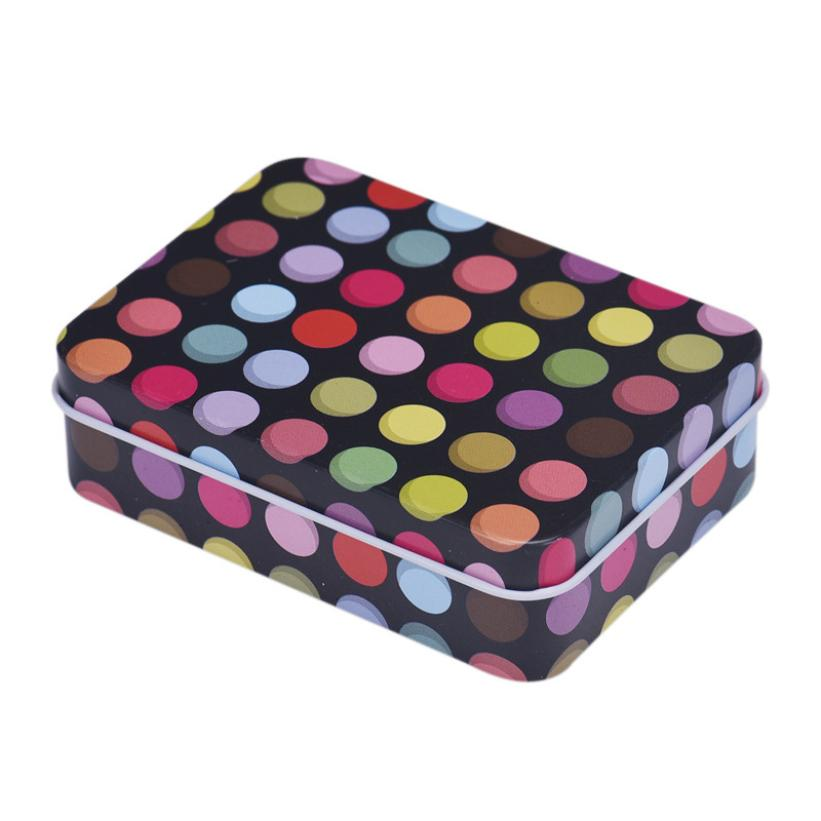Small Storage Box Coloful Dots Jars Rectangular Iron Tin Gift Jewelry Box Holder Home Decoration Support Dropship feb22