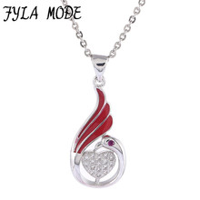 Fyla Mode Elegant Micro Pave Zircon Love Heart Peacock Pendant Necklace Jewelry Fashion Animal Necklace For Girl friend Gift
