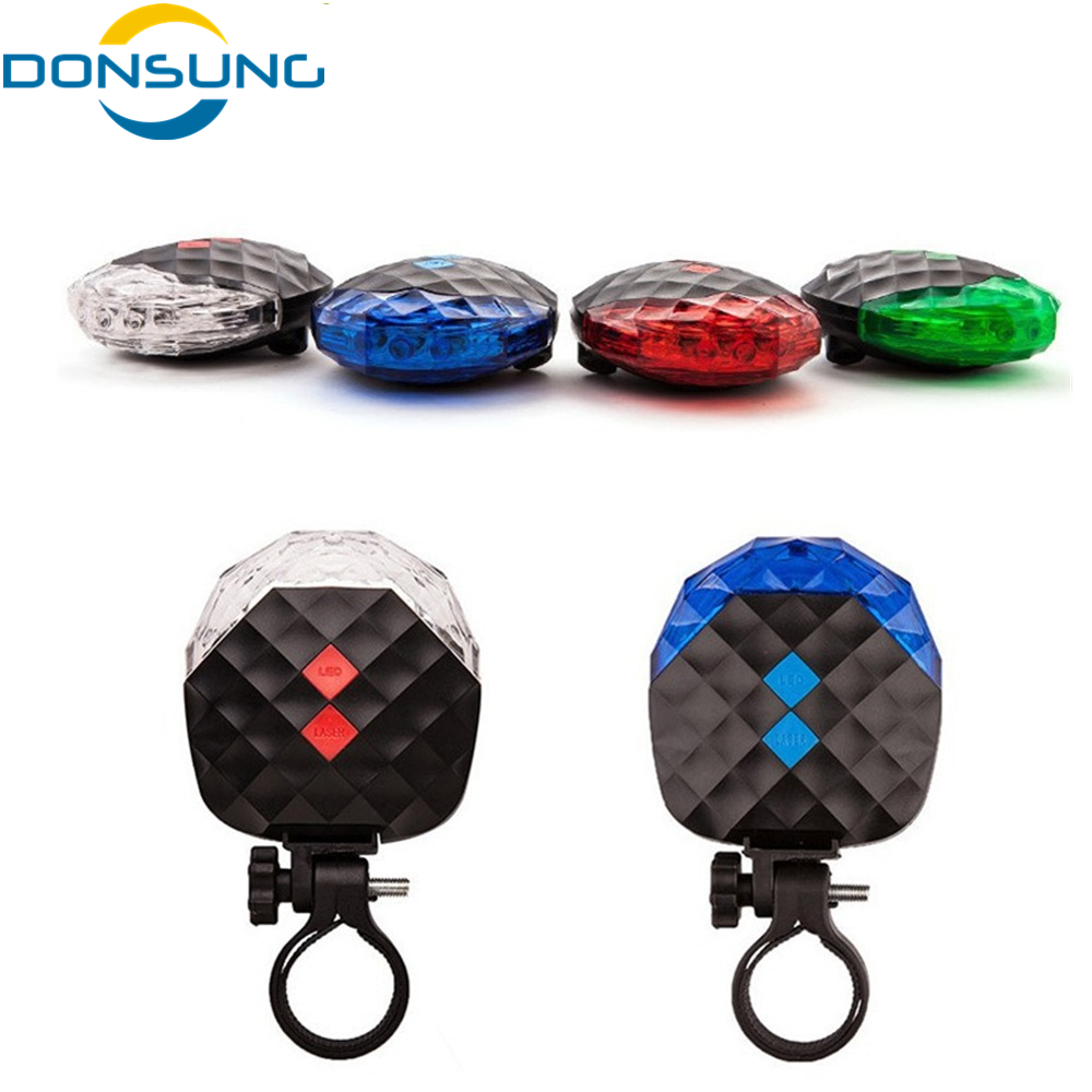 Bike Bicycle Cycling Lights Waterproof 5 LED 2 Lasers Bike Taillight Safety Warning Light Bicycle Rear Bycicle Light Tail Lamp ...