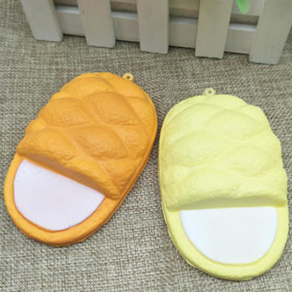 Cute Simulation Slippers Slow Rising Jumbo Hand Pillow Soft Cream Scented Bread Cake Kid Fun Toy Gift