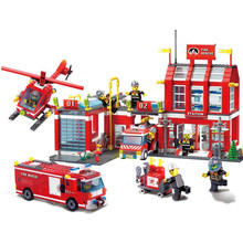 цена на 970pcs City Fire Station Truck Firefighter Helicopter Large Model Building Blocks Toys Compatible with sermoido
