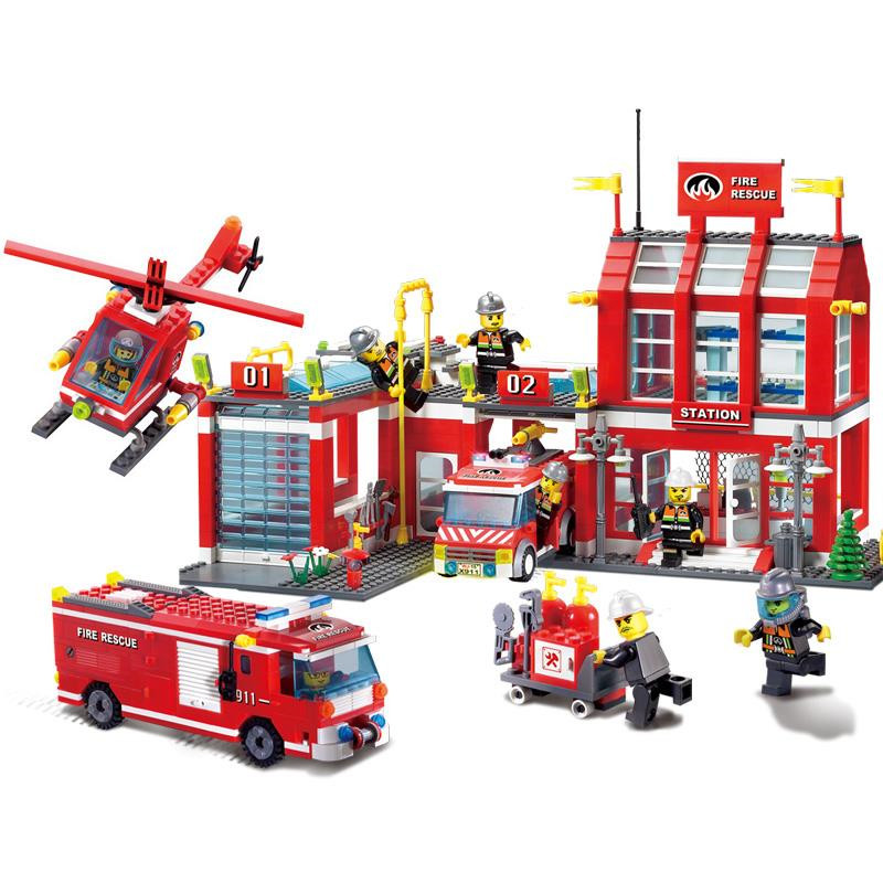 sermoido 970pcs City Fire Station Truck Firefighter Helicopter Large Model Building Blocks Toys Compatible with lego DBP280 kazi fire department station fire truck helicopter building blocks toy bricks model brinquedos toys for kids 6 ages 774pcs 8051