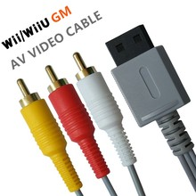 1.8 m オーディオビデオ AV ケーブルゲーム複合 3 RCA ビデオ金メッキケーブルコードワイヤーメイン 480 1080p nintend Wii WIIU コンソール L3FE