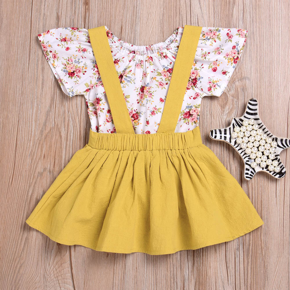 a69264399139 2Pcs Infant Baby Girls Floral Print Rompers Jumpsuit Strap Skirt Outfits  Set 2018 New Summer Children Sets For 6 Month 24 Months-in Clothing Sets  from ...