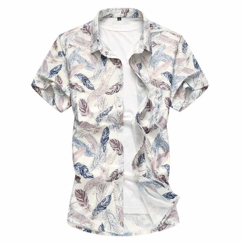 男性シャツ夏新夏のファッション半袖シャツメンズレジャー印刷スリム綿シャツハワイスタイルビーチシャツ S-7XL