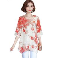 Women Blouses And Shirts 2017 Casual Half Sleeve Fashion Floral Print Chiffon Blouse Plus Size Ladies