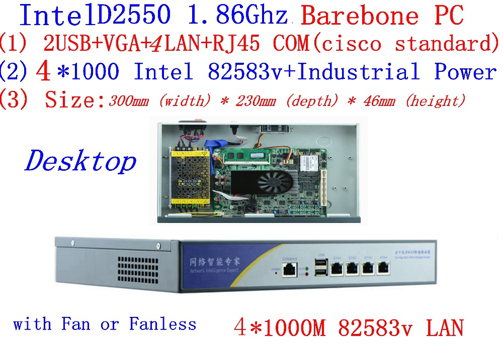 Atom D2550 Firewall Server Dual Core 1.86GHz Desktop Mode 4*Intel 82538V 1000M Network Support PfSense, WayOS Barebone PC