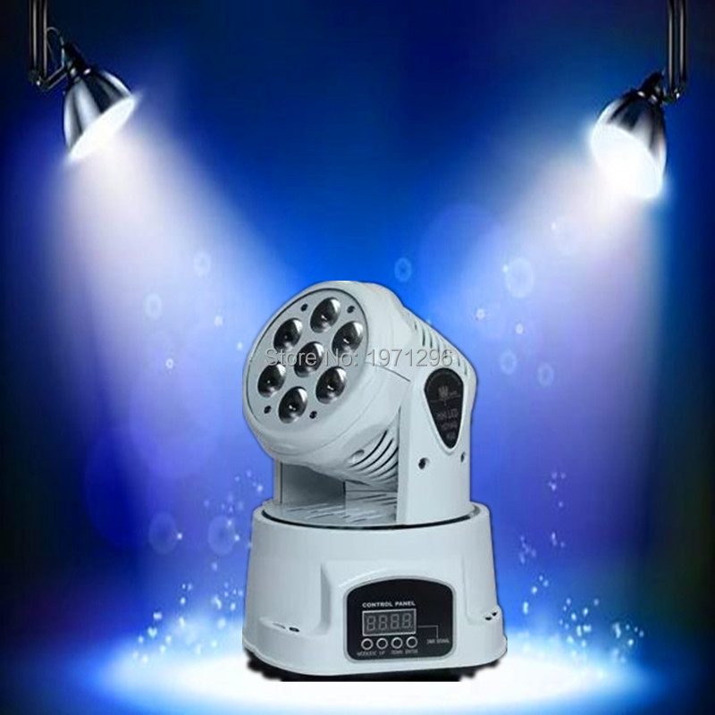 6 pieces/lot White mobile head led wash 7x12w rgbw moving head light/dj equipment powerful mini moving light