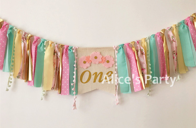 New Gold one Pink Flower Girl First Birthday Party Highchair Banner - first birthday banner