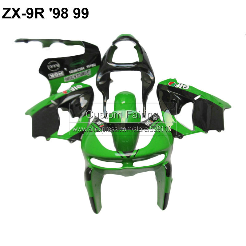 ABS Motorcycle parts for Kawasaki ZX9R zx 9r 1998 1999 Ninja 99 98 green black fairing kit xl09