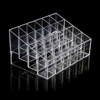 24 Grid transparente acrílico lápices labiales soporte caja de exhibición organizador de maquillaje caja de almacenamiento de cosméticos lápices labiales cajas estuche