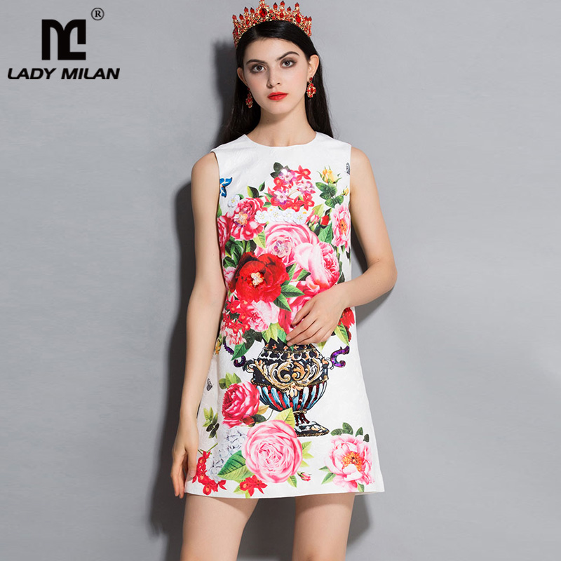 Lady Milan 2018 Womens O Neck Sleeveless Floral Printed Beaded A Line Fashion Casual Designer Summer Runway Dresses