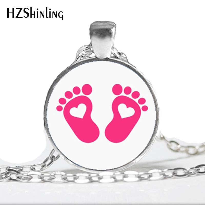 NS-00520 New Fashion Baby feet Neckalcce Baby feet Pendant Jewelry Gift for Mom Girls Glass Cabochon Necklace HZ1 image