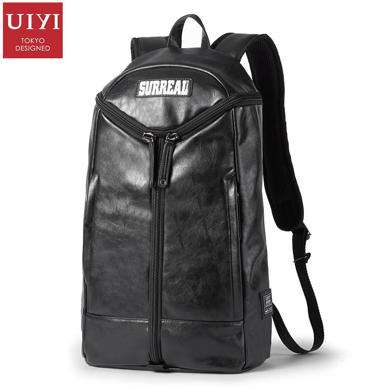 uiyi backpack men polyester microfiber pu leather patchwork backpacks for teenagers school rucksack school bags travel 160014 UIYI Men Women PU Leather Travel Casual Black Backpack For 14'' Laptop Preppy Shoulder Bag College School Teenagers 160184
