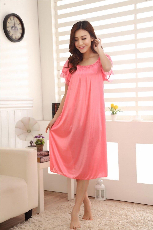 Large size women nightgowns silk satin robes short sleeved long sleepwear  dress summer casual sleepshirts dresses for women Q624-in Nightgowns    Sleepshirts ... 868d9f10c