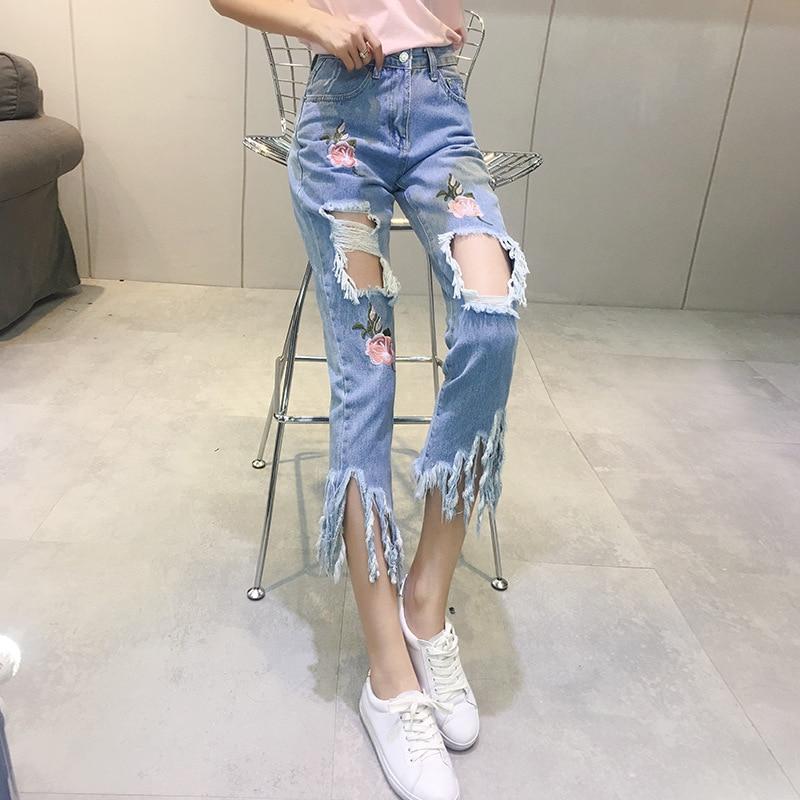 Wholesale femaleS 2018 new hollow flower floral uique slim stretch denim pants womens hollow out girls lady elastic pencil pantS