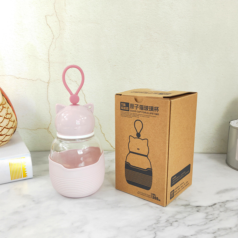 JOUDOO Cute Cat Glass Water Bottle With Rope 300ML Mini Leakproof Glass Cup Student Tour Outdoor Drinkware Bottle Wholesale 35 in Water Bottles from Home Garden