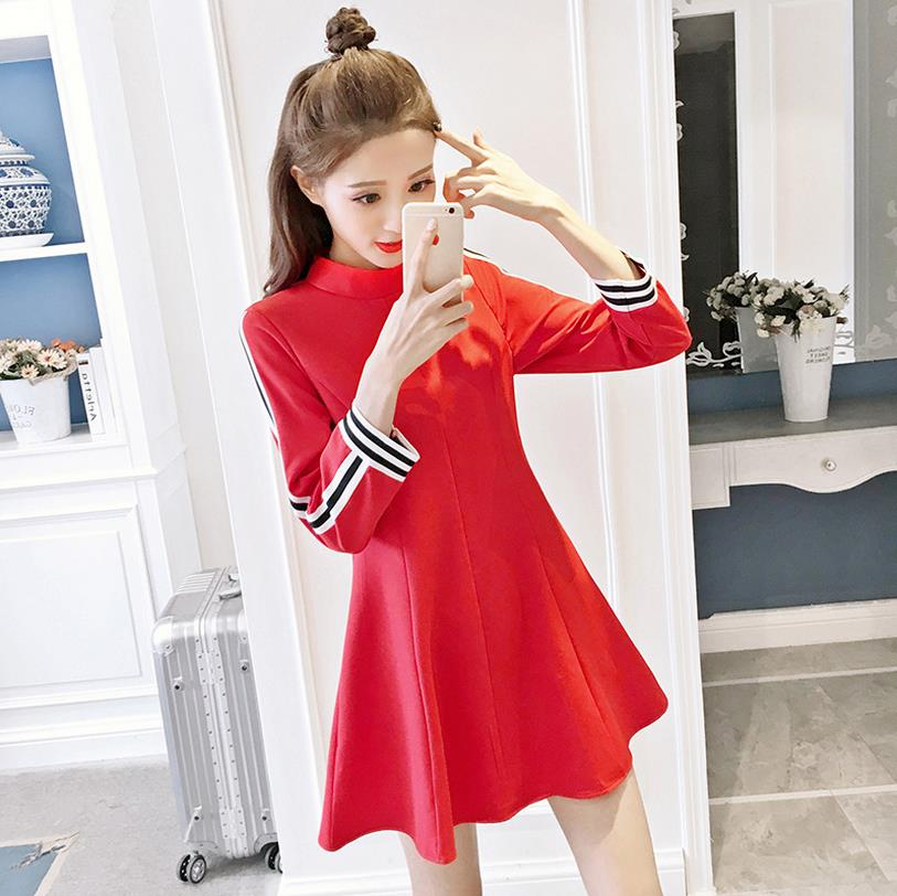 DoreeenBow Automne Femmes Robe Lady Femme Une Ligne Robes Casual Vintage Chic Coréenne Style Streetwear Manches Longues Rouge