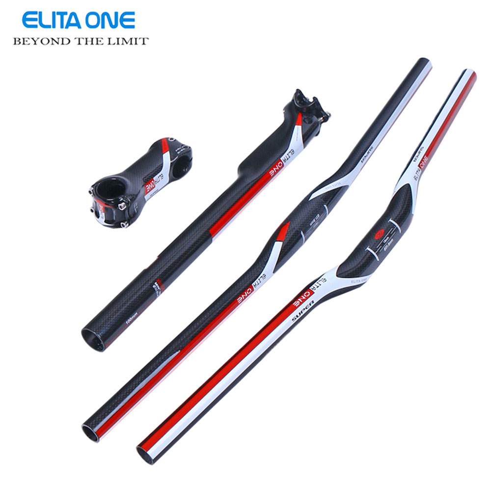 elitaone 3K Carbon MTB Handlebar Bike Parts Cycling Handlenar Saetpost Stem MTB Bike Handlebar Set seat