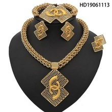 Yulaili Stainless Steel Fashion Square Big Necklace Earring for Women Party Anniversary Dubai Jewelry Sets Free Shipping